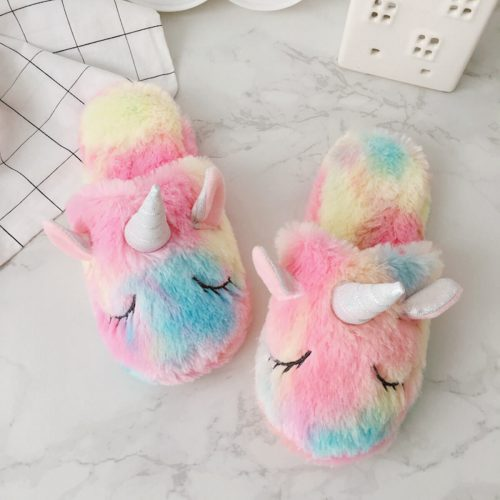 Plush colorful unicorn slippers