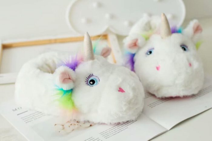 Plush white unicorn shoes