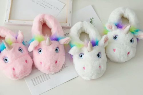 Plush pink unicorn shoes