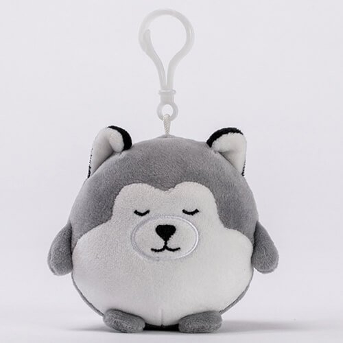 Plush siberian husky dogs keychain toy
